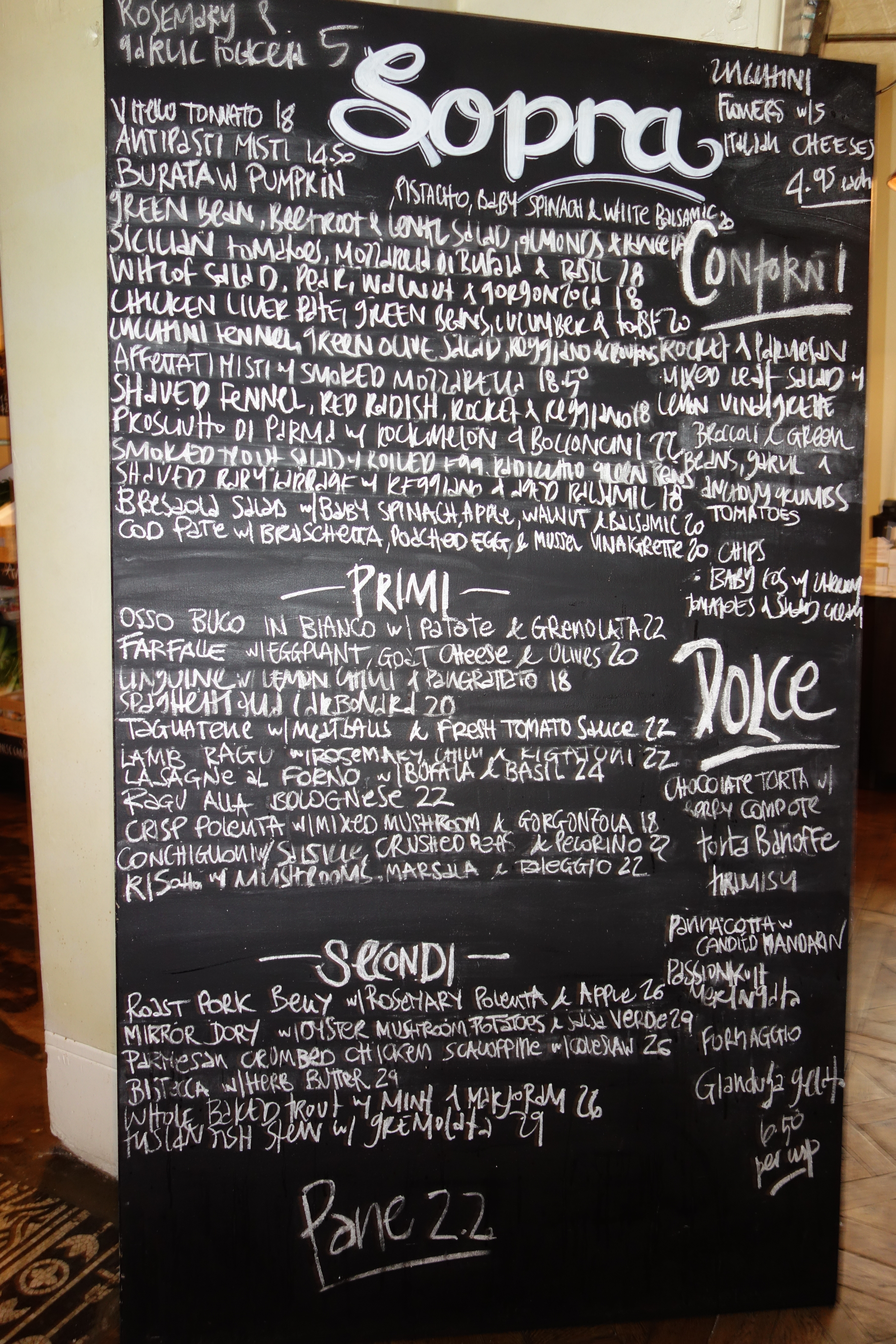 Cafe Sopra At Fratelli Fresh Bridge Street Menu