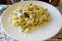 Wild mushrooms, garlic & olive oil tagliatelle
