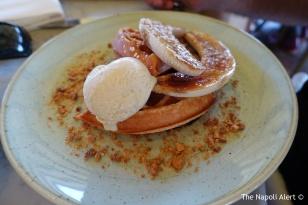 Waffle with caramelised banana and vanilla ice cream,