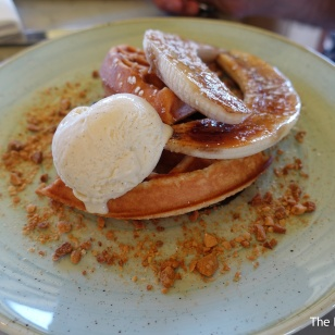 Waffle with caramelised banana and vanilla ice cream,