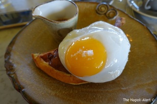 Duck and waffle: crispy leg confit (hiding under the egg), fried duck egg, mustard maple syrup