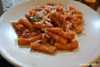 Rigatoni with slow cooked tomato sauce and marjoram