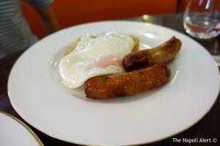 Fried eggs with Blythburgh Pork Sausage